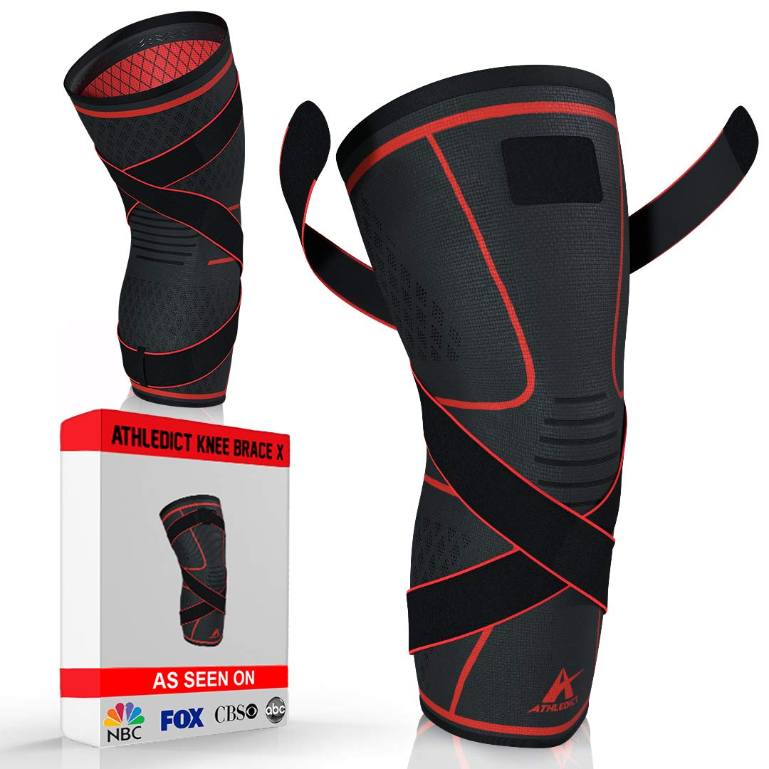 Athledict Knee Brace Compression Sleeve with Strap for Best Support & Pain Relief for Meniscus Tear, Arthritis, Running, Basketball, MCL, Crossfit, Jogging, Post Surgery Recovery for Men & Women, S
