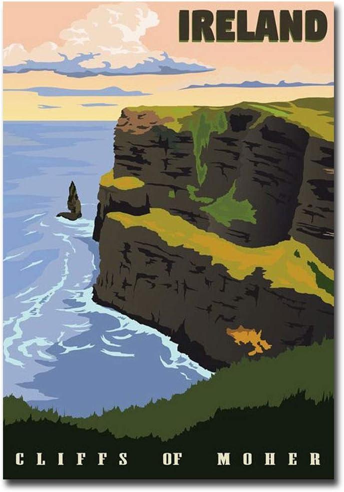 "Cliffs of Moher Ireland Vintage Travel Art Refrigerator Magnet Size 2.5"" x 3.5"""