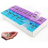 7 Day Pill Box Pill Organizer 14 Compartment Weekly Pill Box