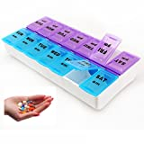 7 Day Pill Box Pill Organizer 14 Compartment Weekly Pill Box