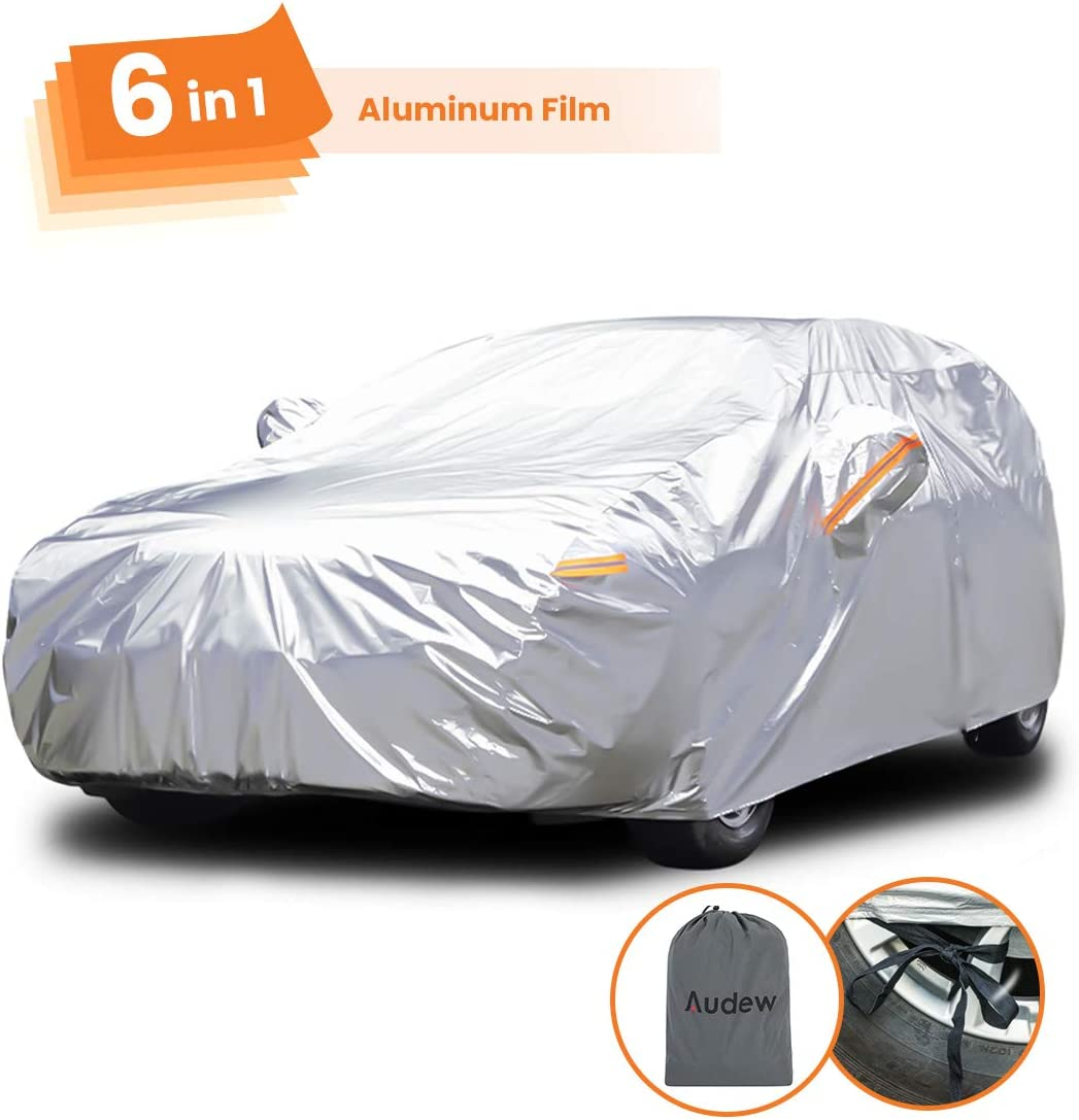 Audew Full Car Cover Sedan Car Covers 6 in 1 Layer Waterproof, Breathable, Dustproof, UV and All Weather Protection, Scratch Resistant, 475*193*143 cm