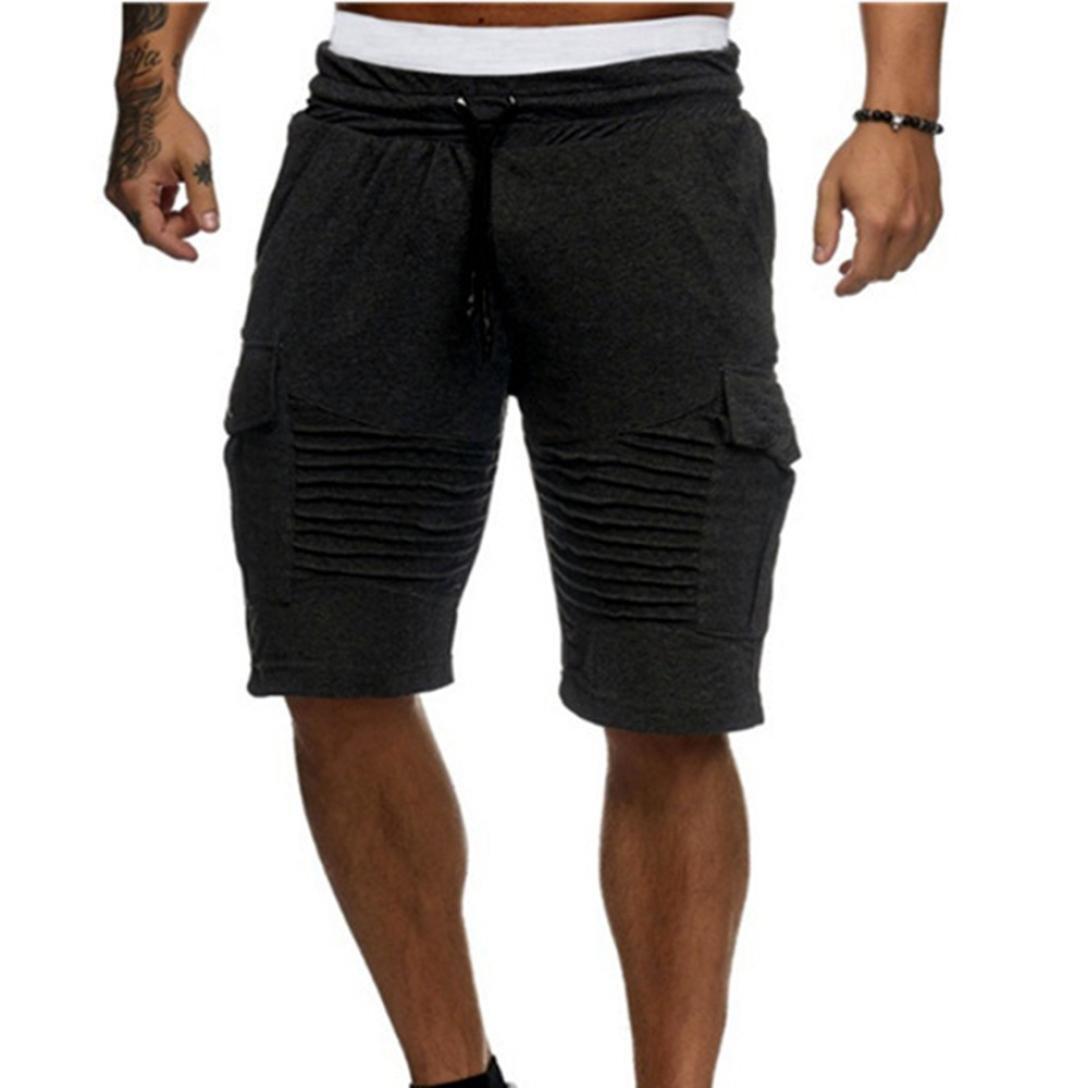 Pervobs Men Shorts, Mens Sumer Comfy Shorts Mid Waist Lightweigh Drawstring Trunks Breathable Beach Surfing Running Sport Pants(M, Black)