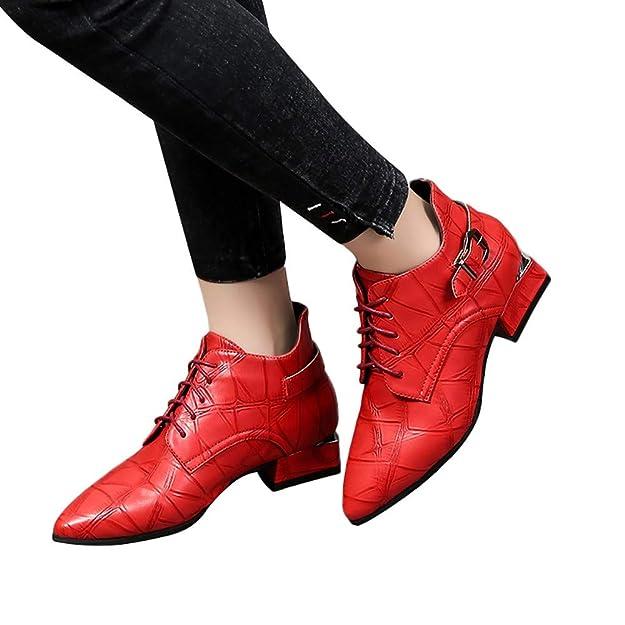 OHQ Botas Cortas Mujer Moda con Cordones Cuero Invierno SóLido Grueso Botines Point Toe Zapatos: Amazon.es: Zapatos y complementos