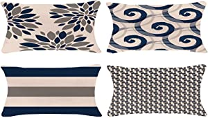 ZUEXT Geometric Throw Pillow Covers 12x20 Inch Double Sided, Set of 4 Cotton Linen Indoor Outdoor Modern Floral Accent Pillow Cushion Cover for Car Sofa Home Decor (Navy Beige Check, Mix & Match)