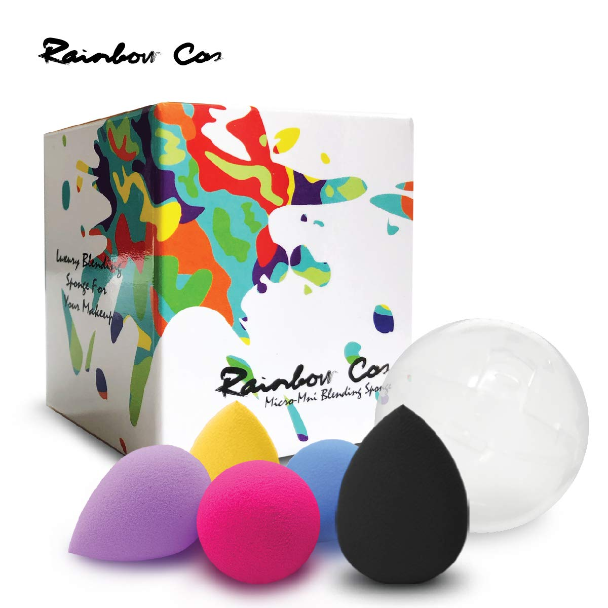 Rainbow Cos 5 PCS Micro Mini Makeup Blender Beauty Sponge set, Foundation Blending Sponge,Flawless for Liquid, Creams, and Powders,Multi Color Makeup Sponges Latex Free.