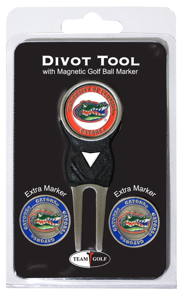 Team Golf NCAA Florida Gators Divot Tool with 3 Golf Ball Markers Pack, Markers are Removable Magnetic Double-Sided Enamel by Team Golf