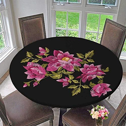 Bush Traditional Tv Stand - Luxury Round Table Cloth for Home use rosevector Traditional Folk gen Daisy Bush Flowers Ornament for Buffet Table, Holiday Dinner 35.5