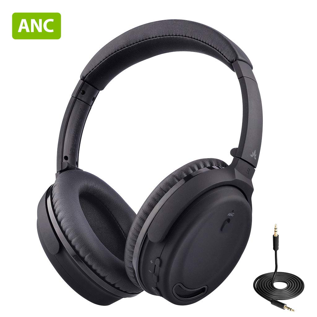 [2020 New] Avantree ANC032 Active Noise Cancelling Headphones, ANC Wireless Wired Bluetooth Headphones Over Ear with Mic, Comfortable & Foldable, 18Hrs for Airplane Travel Work TV Computer Cell phones