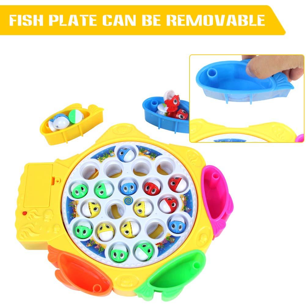 HCHENG TOYS Juegos de Mesa Pesca Juguetes Set Electrónico Musical Giratorios Pesca Y Coloridos de Pescar Regalo para Niños Niñas 3 4 5 Años+: Amazon.es: ...