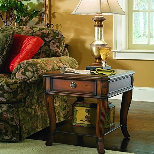 Hooker Furniture Brookhaven Wood Top End Table in Clear Cherry by Hooker Furniture