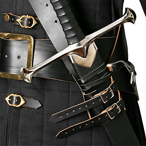 Medieval Gears Brand Black Genuine Leather Sword Belt Frog Hanger Baldric Renaissance Costume LARP (Baldric Sword Belt compare prices)