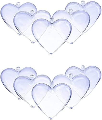 Pkg of 10 DOYOLLA 80mm Clear Plastic Acrylic Heart Shape Fillable Christmas Tree Ornaments DIY Bath Bomb Molds Clear