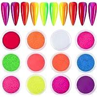 QIMYAR Nail Pigment Powder 12 Colors Fluorescent Nail Powders Phosphor Nail Art Dust Pigment Rainbow Color Nail Body…