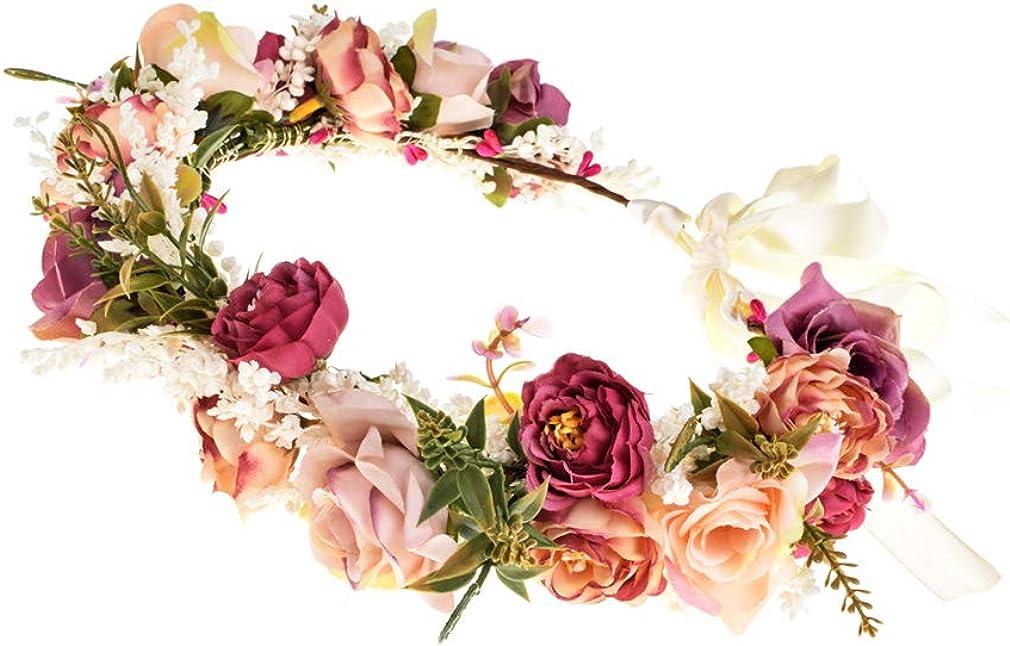 Ever Fairy - Diadema para mujer, diseño de flores y corona de flores, para bodas, fiestas
