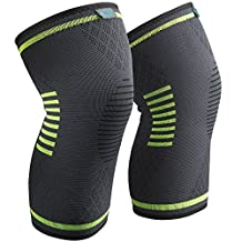 Sable Knee Brace Compression Sleeve Support for Arthritis, ACL, Running, Biking, Basketball Sports, Meniscus Tear, Faster Recovery; Set of 2