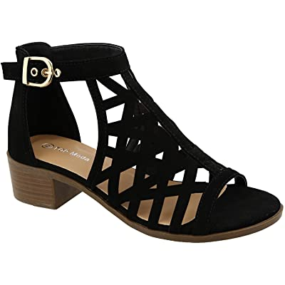 Top Moda Jerry-82 Women's Open Toe Buckle Strap Low Chunky Block Heel Cutout Gladiator Sandals, Black, 7 | Heeled Sandals