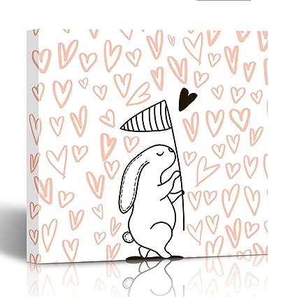 Amazon.com: Emvency Canvas Prints Square 20X20 Inches Cute Rabbit ...