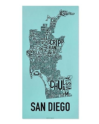 San Diego Map Of Neighborhoods.Amazon Com Ork Posters San Diego Neighborhoods Map Screen Print