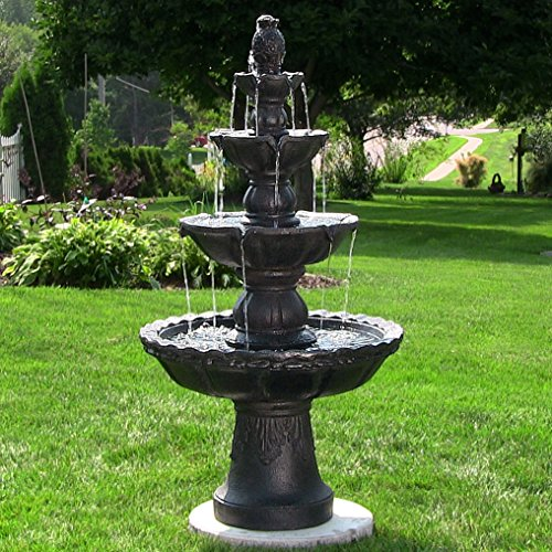 Outdoor Pineapple Finial (Sunnydaze 4-Tier Large Outdoor Water Fountain with Pineapple Top, Black, 52-Inch)