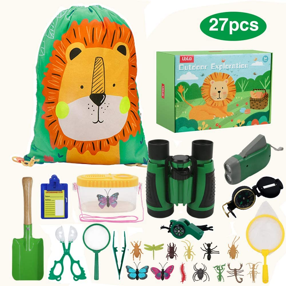 LBLA Outdoor Explorer Set 27 pc - Nature Exploration Kit Children Outdoor Games Mini Binoculars, Compass, Whistle, Magnifying Glass, Bug Catcher, Headlamp,Adventure, Hiking Educational Toy