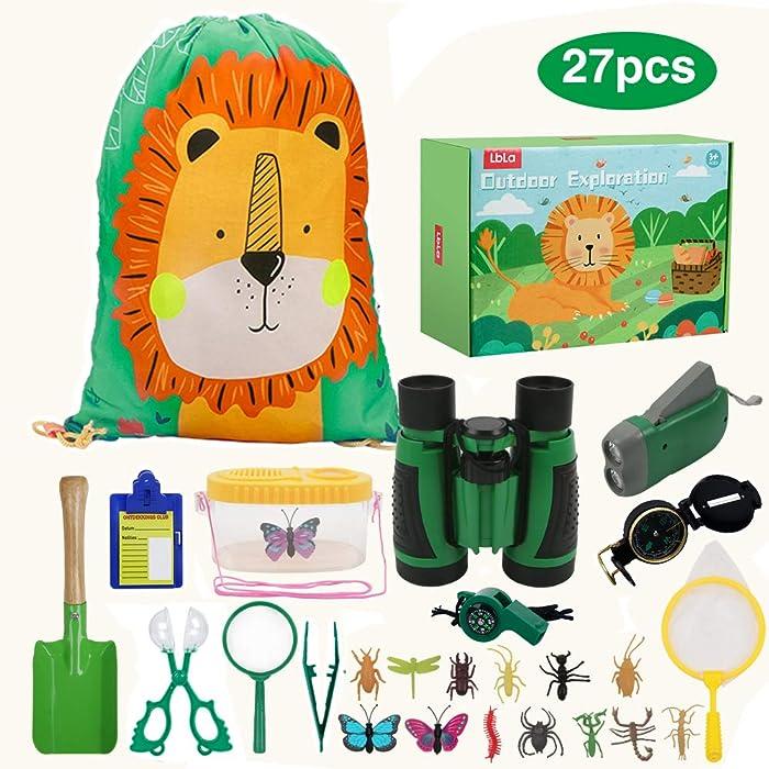 LBLA Outdoor Explorer Set 27 pc - Nature Exploration Kit Children Outdoor Games Mini Binoculars, Compass, Whistle, Magnifying Glass, Bug Catcher, Headlamp,Adventure, Hiking Educational Toy