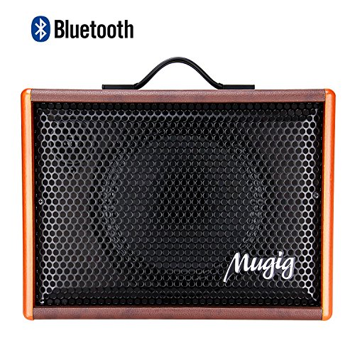 Mugig Guitar Amplifier for Acoustic Guitar Portable Chargeable Vocal Amp 25W Guitar Speaker for Karaoke Street Performance and Guitar Practice by Mugig