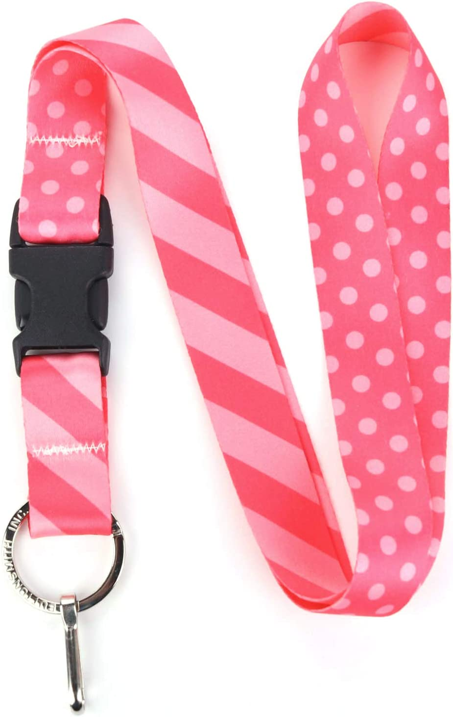 Buttonsmith Pink Dots Premium Lanyard - with Buckle and Flat Ring - Made in The USA