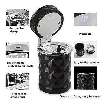 Cenicero del coche Cenicero LED Cenicero del coche del cigarrillo del coche extraíble portátil Cenicero , black: Amazon.es: Deportes y aire libre