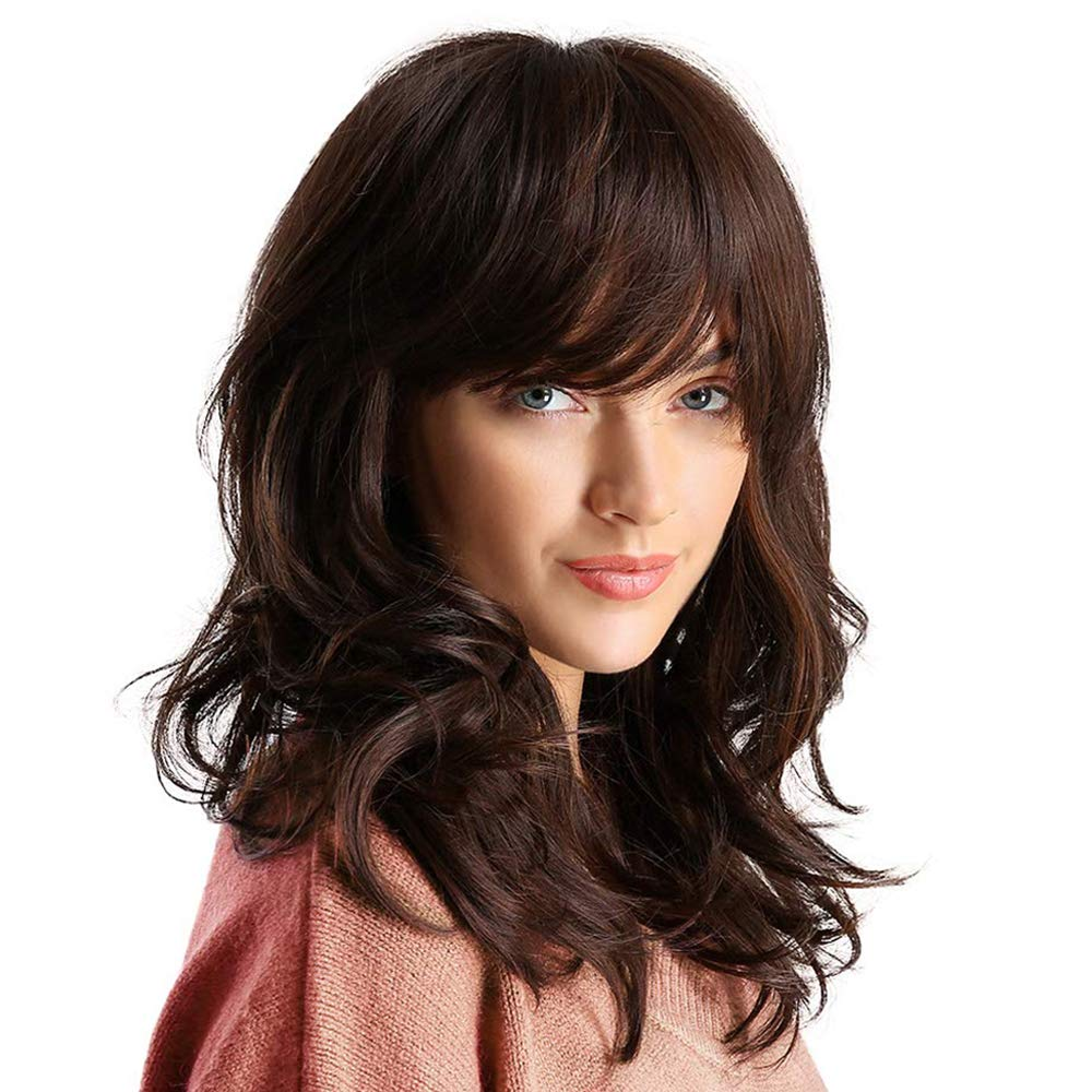 Amazon Com Synthetic Curly Hair Wig Shoulder Length Brown Hair Wigs For Women Beauty
