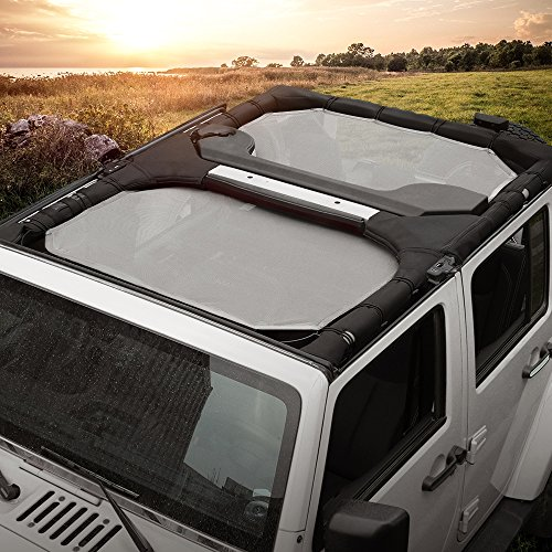 Durable Polyester Mesh Sun Shade Top Cover Provides UV for 4-Door Jeep JK or JKU 2007-2017(Gray) by JeCar