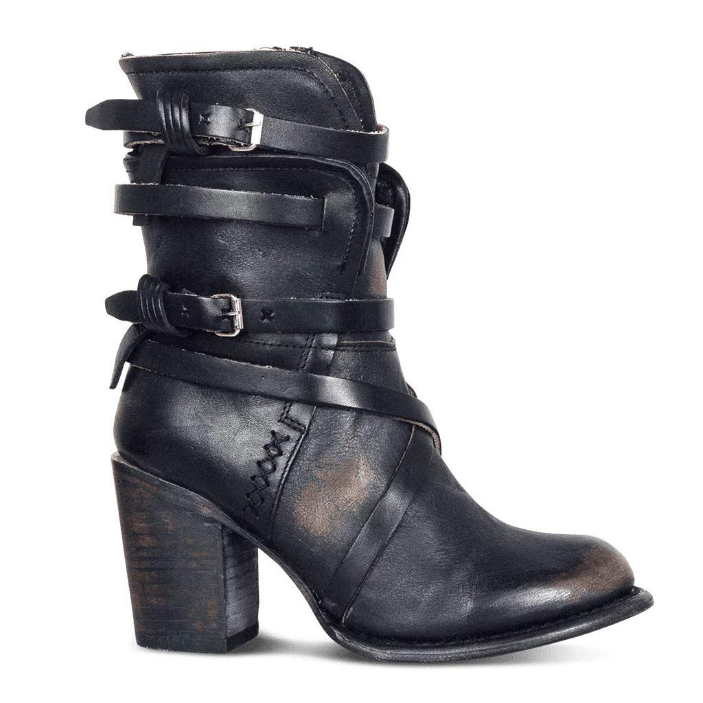 Dainzuy Womens Boots Buckle Biker Strappy Side Zipper Stacked Heel Distressed Shoes Leather Color Block Western Boot Black by Dainzuy Women's Shoes