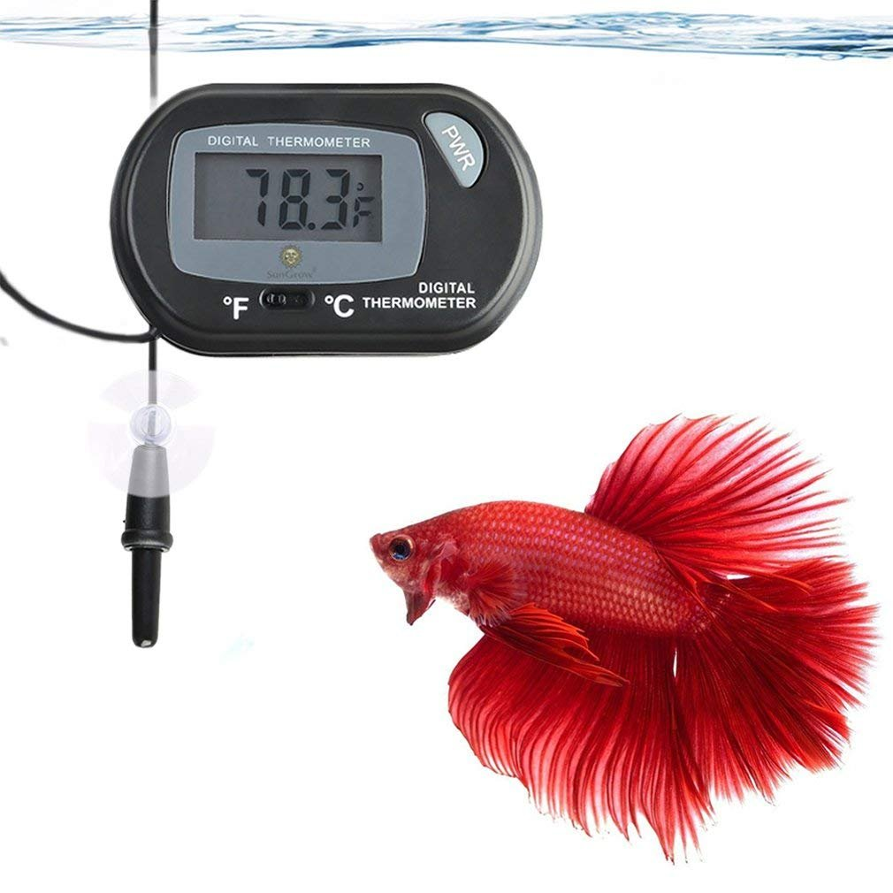 Accurately Reads Tank Water Temperature SunGrow LCD Digital Thermometer Easy to Install Comes with 2 Suction Cups and Battery