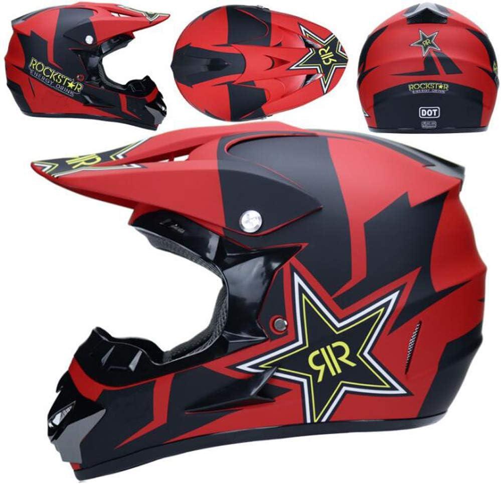 TKUI Moto Motocross Casques Casque int/égral Casque Parasol O Gants et Lunettes D T Standard Enfants Quad Bike VTT Go Karting Casque Rouge