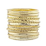 Lux Accessories Flower Mixed Metal Aztec Multi Bangle Set Shiny Gold