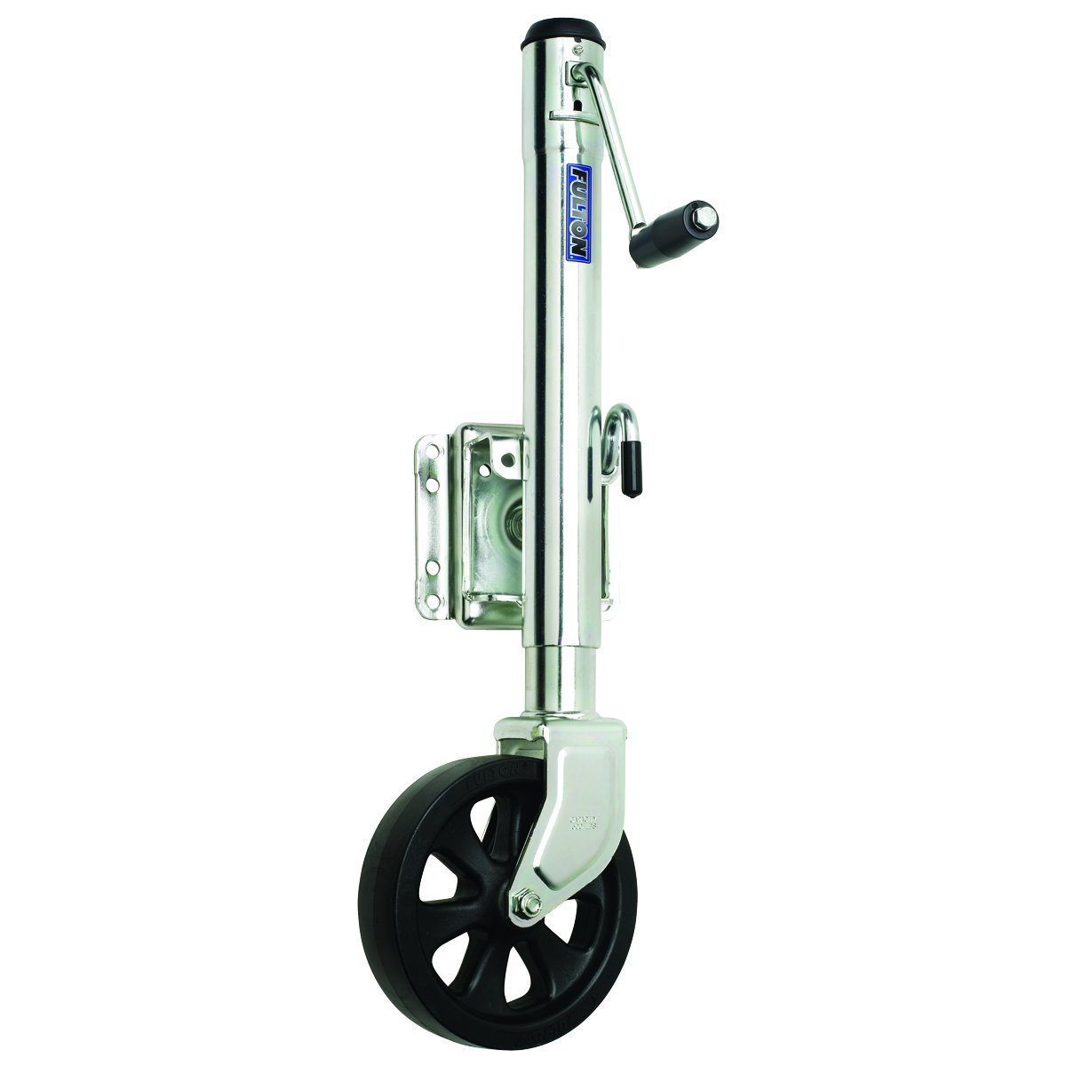 Fulton XP15 0101 Steel Swing-Away Bolt-On Jack with 10'' Travel and 8'' Poly Wheel - 1500 lb. Weight Capacity by Fulton