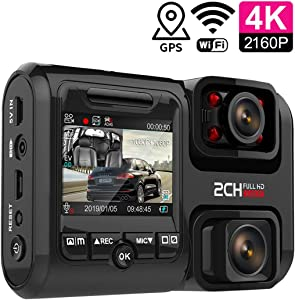 Dash Cam Full HD 4K 28802160P 170° Logger Dual Lens Recorder with WiFi GPS Night Vision Motion Detection Night Vision G Sensor DVR Max Supports 256GB TF Card