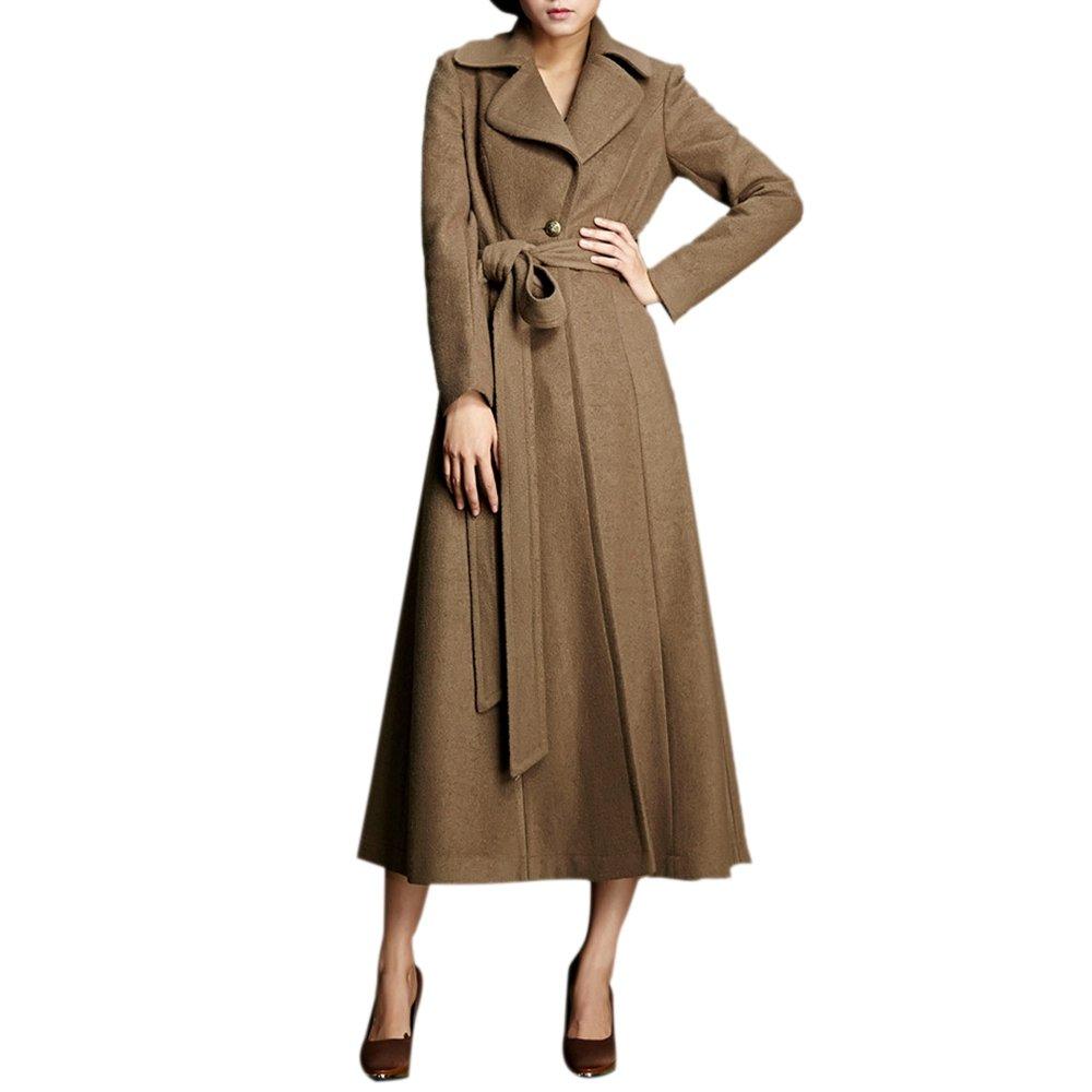 Dezzal Women's Vintage Belted Maxi Wool Blend Walking Coat(Brown, M)