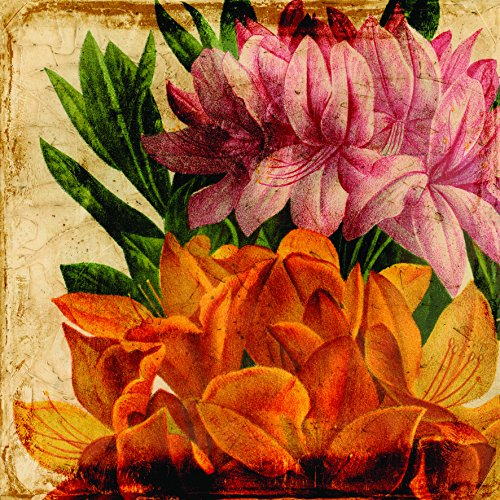 """Empire Art Direct """"Vibrant Antique Lillies"""" Frameless Free Floating Tempered Glass Panel Graphic Wall Art"""
