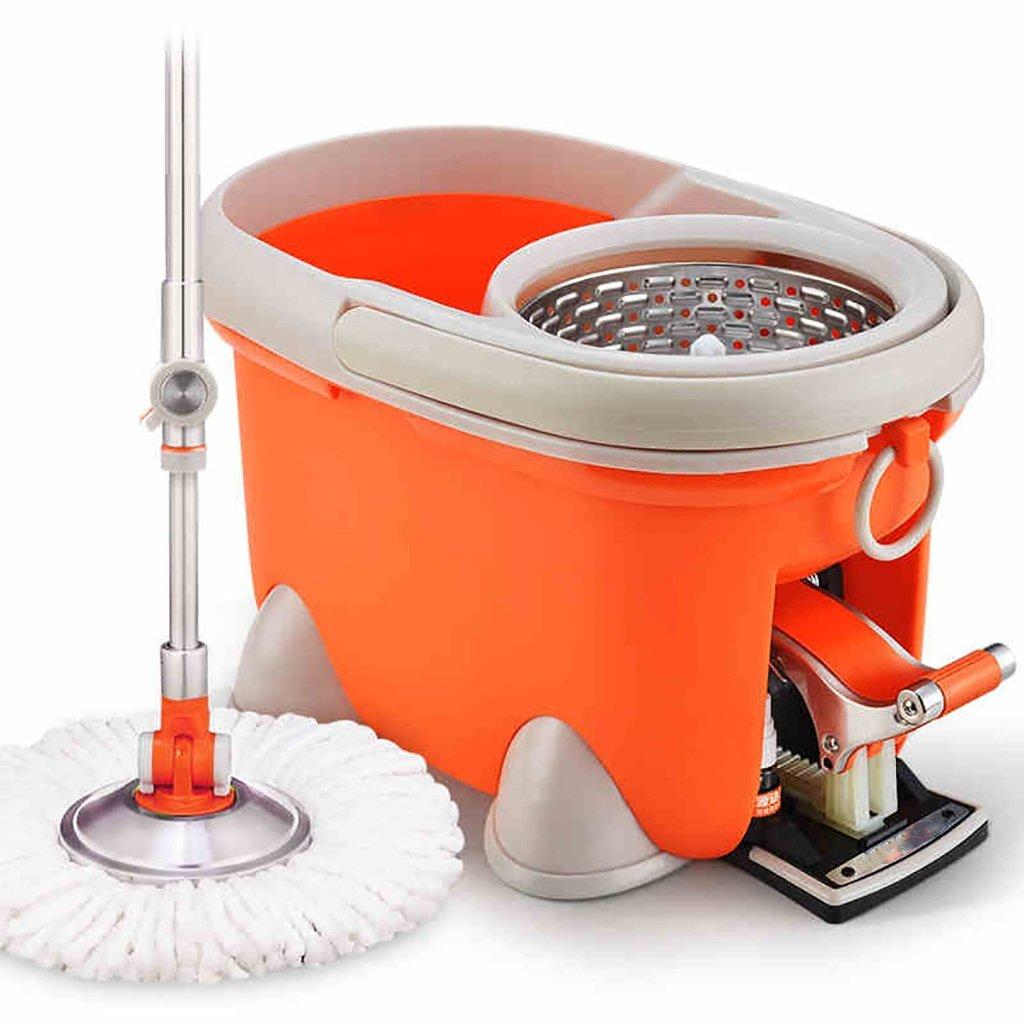 モップ完全洗浄システムモップヘッド+ 360°回転モップバケット時間と労力を節約ロータリーモップ B07FMMNWCQ