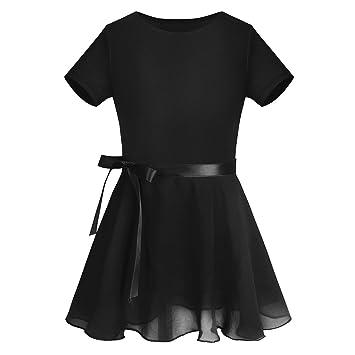 b3978fbba CHICTRY Girls Kids Basic Team Short Sleeved/Sleeveless Wrap-Round Skirt  Leotard Dance Ballet