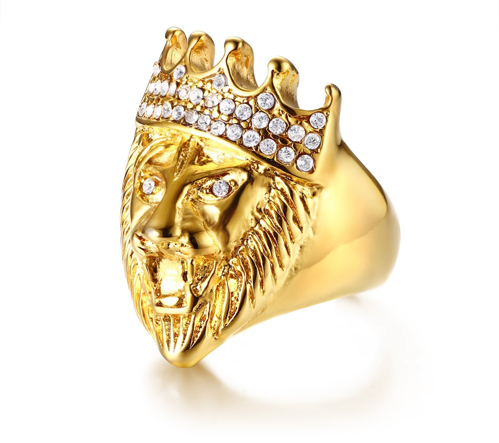 Mealguet Jewelry Gold Plated Stainless Steel Hip Hop Polished Crystal Iced out Crown Lion Head Ring Band for Men,Punk Style,size 12