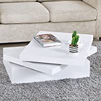 NewRetailGlobal White Square Coffee Table Rotating Contemporary Living Room Furniture