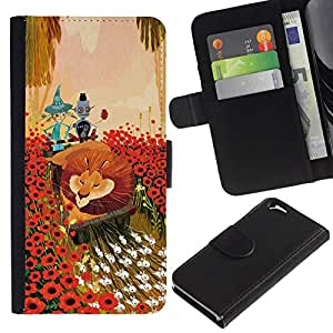 All Phone Most Case / Oferta Especial Cáscara Funda de cuero Monedero Cubierta de proteccion Caso / Wallet Case for Apple Iphone 6 // Lion Flowers Cartoon Fairy Tale Art Friends