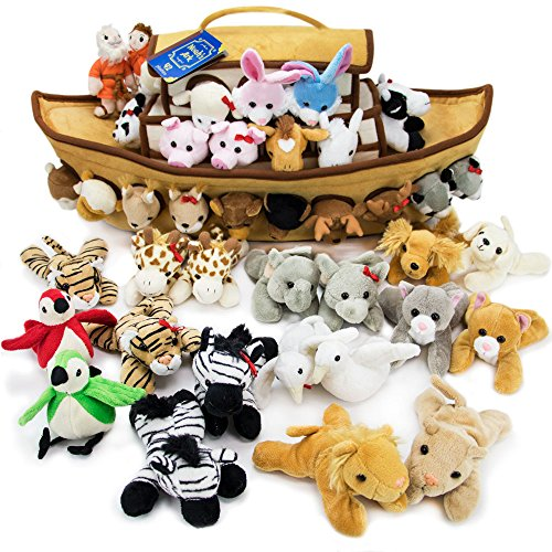 Imagination Generation 2-Foot Noah's Ark Plush Toy Playset - 42-Piece Set of 4 Stuffed Animals with Ark - Bible Story Baby Gift, Great for Easter, Christmas, Baptisms, ()