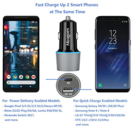 Meagoes Rapid PD Car Charger, Compatible for Google Pixel 4 XL/4/3 XL/3/3a XL/3a/2 XL/2/XL/C, Moto Z3 Play/Z2 Force, Power Delivery & Quick Charge 3.0 ...