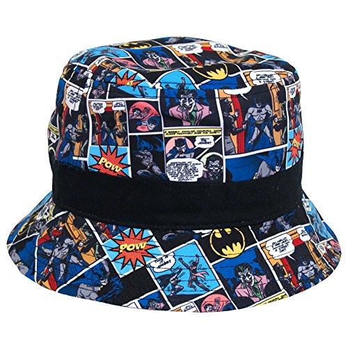 Batman DC Comics Comic Strip Microfiber Youth Fisherman Bucket Cap Hat]()