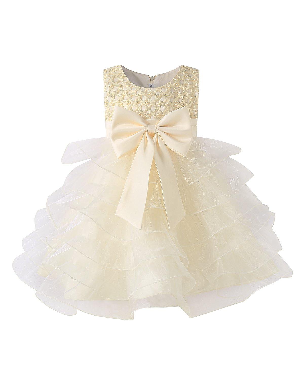 Kidsform Vestidos de Princesa para Bebé Niña Boda Bautizo Fiesta Elegante Fiesta con Flores Bowknot de la Tutu Dress KIDSFORMyonnciies2363