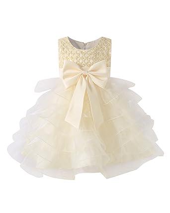 a580a8a2b34 Kidsform Robe Fille Cérémonie Princesse Fête Robe Enfant Mariage Noeud  Papillon Jupe Longue Champagne 18-