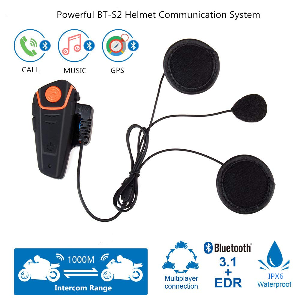 Motorcycle Bluetooth Headset Fodsports BT-S2 Pro Intercom Helmet Communication System for Motorbike Skiing Hands-Free Call//FM// MP3// Range 800M// 3 Riders Pairing//Walkie Talkie Supported