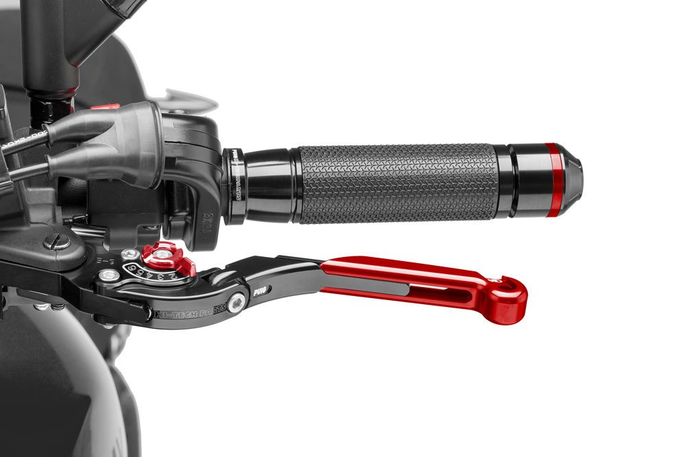 black Puig 19RNR1237 brake and clutch lever for Ducati Streetfighter 848 2012-2015 extendable and foldable F2 with red adjuster and red slider Set